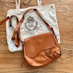 Ralph Lauren Cognac Leather Buckle Saddle Bag